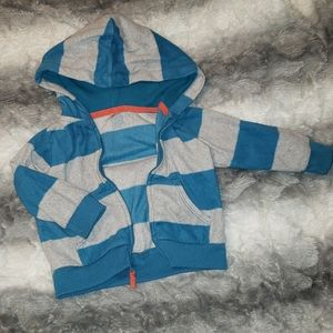 Boys blue and grey striped sweater.